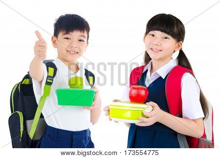 Asian primary school girl holding lunch box. Healthy eating concept for schoolchild.