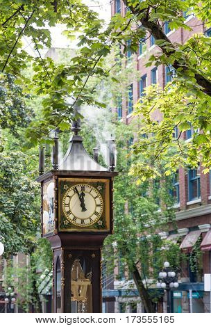 The famous steam powered clock in the gaslight district of Vancouver British Columbia Canada