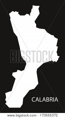Calabria Italy Map black inverted silhouette black and white