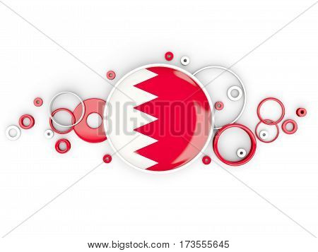 Round Flag Of Bahrain With Circles Pattern