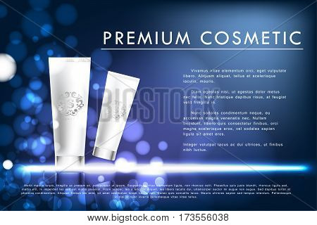 Cosmetic product poster, white tube package design with moisturizer cream or liquid, sparkling background bokeh with sequins., 3d vector illustration.
