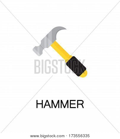 Hammer flat icon. Single high quality color element for web design or mobile app. Isolated hammer on white background. Construction tool flat icon. Bulding tool vector illustration.
