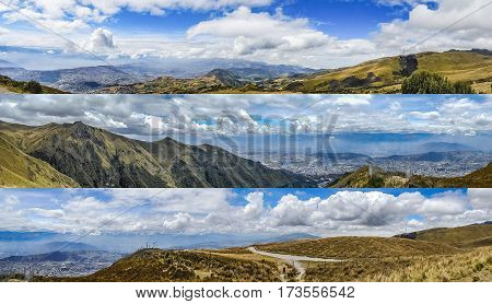Aerial landscape andean panoramic scenes from highs of Cruz Loma located in Quito city Ecuador
