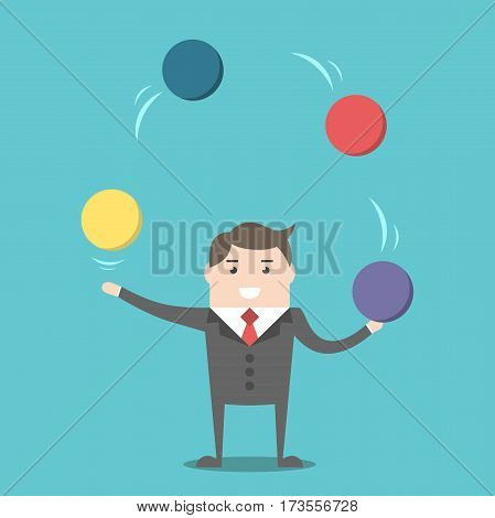 Businessman Juggling Spheres