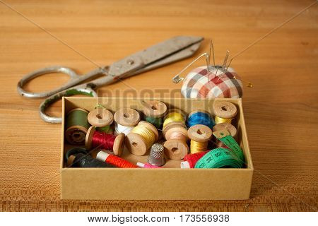 Set of old sewing accessories for hand sewn