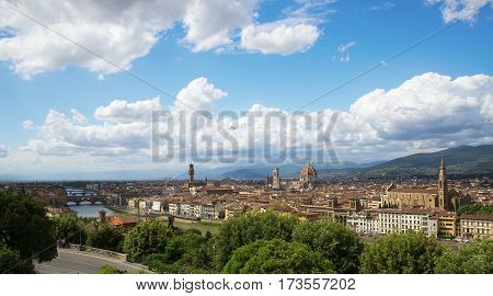 Florence panorama, Cathedral Santa Maria Del Fiore and Basilica di Santa Croce from Piazzale Michelangelo (Tuscany, Italy)