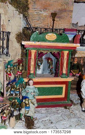 Sicilian puppet theater in a sicilian presepe