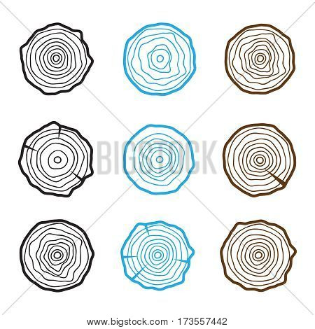 set of four tree rings icons. concept of saw cut tree trunk forestry and sawmill