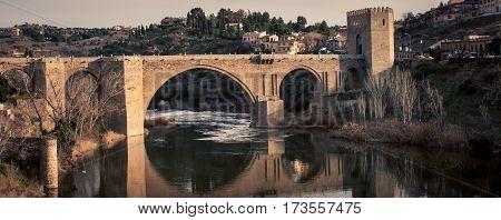 Roman bridge in the town of Toledo Spain