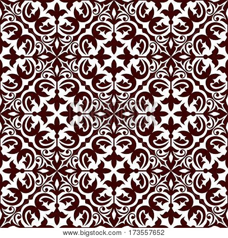 Floral ornamental decoration pattern. Stylized damask ornate decor seamless tile. Vector arabian flourish ornament patchwork