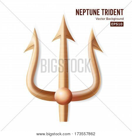 Neptune Trident Vector. Bronze Realistic 3D Silhouette Of Neptune Or Poseidon Weapon. Pitchfork Sharp Fork Object. Isolated On White