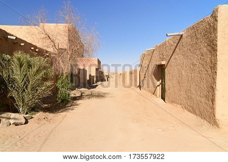 On the street in Merzouga village at Sahara Desert Morocco