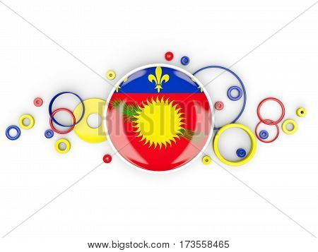 Round Flag Of Guadeloupe With Circles Pattern