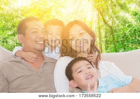 Portrait of beautiful asian family enjoy family time