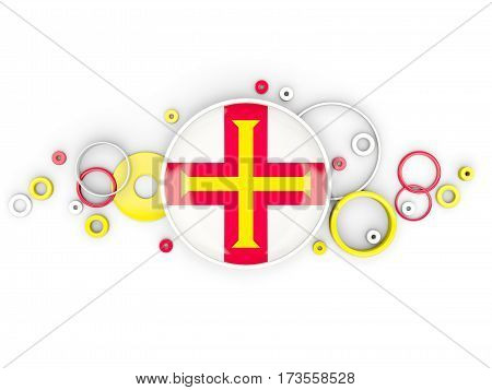 Round Flag Of Guernsey With Circles Pattern