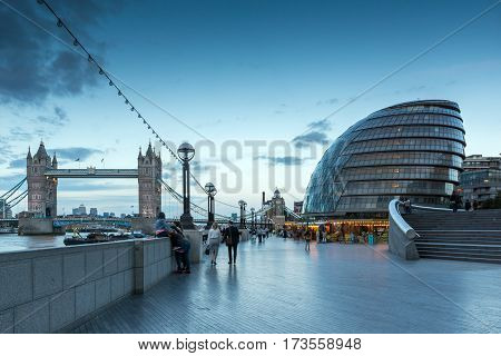 LONDON, ENGLAND - JUNE 15 2016: Night photo of City Hall and Tower Bridge in London, England, Great Britain