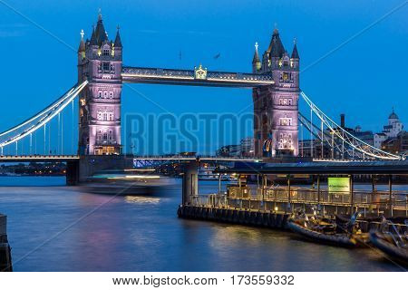 LONDON, ENGLAND - JUNE 15 2016: Tower Bridge in London in the Night, England, Great Britain