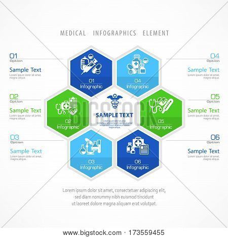 Medical infographic with medicine signs in circle elements and text for hospital presentation vector illustration