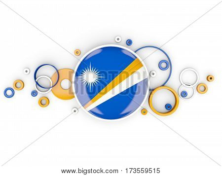 Round Flag Of Marshall Islands With Circles Pattern