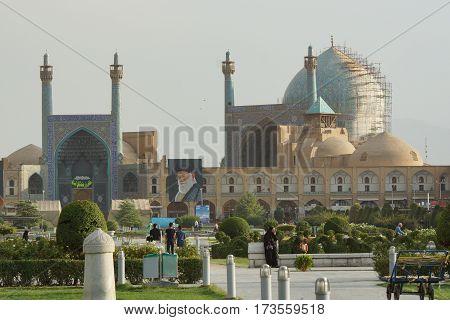 ISFAHAN, IRAN - OCTOBER 10, 2016: Imam Mosque on Meydan-e Imam on October 10, 2016 in Isfahan, Iran.