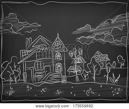 Child Chalk Hand Drawing Landscape On Blackboard