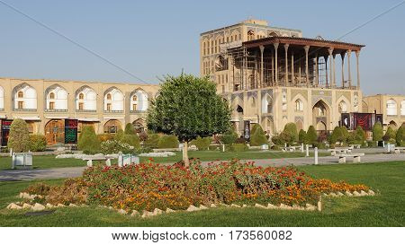 ISFAHAN, IRAN - OCTOBER 10, 2016: Ali Qapu Palace on Meydan-e Imam on October 10, 2016 in Isfahan, Iran.