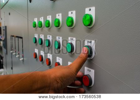 buttons start on control panel for control machine