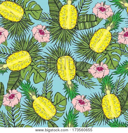 Pattern of cut pineapple with tropical leaves and flowers. On a blue background. Seamless.