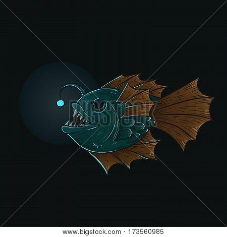 Deep sea anglerfish, isolated on white, vector illustration, eps-10