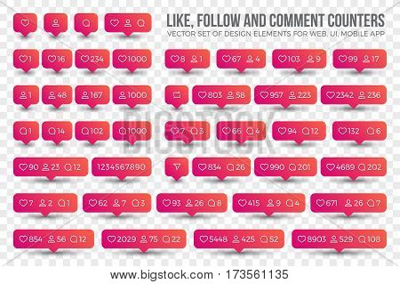 Set Vector 3D Counter Icons Like, Follow, Comment on Transparent Background. Design elements for social network, web, ui, mobile, app