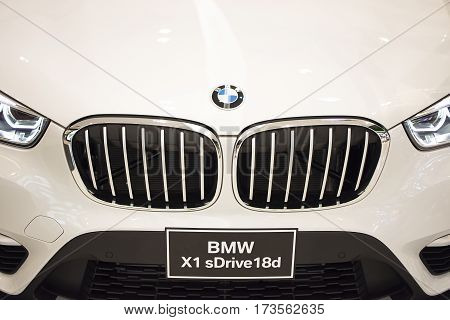 RayongThailand - January 14 2017 BMW Motor Show in Central Festival Rayong Department store. Front view of BMW X1 sDrive 18d