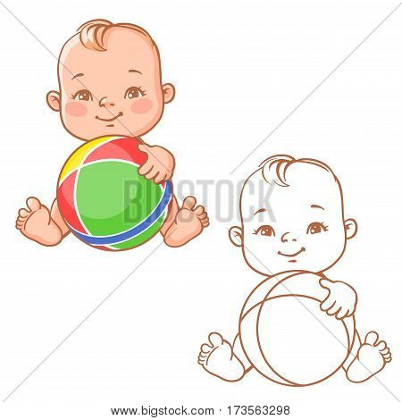 Cute little baby holding rubber ball. Cartoon happy smiling toddler with toy. One year old child in diaper sitting playing. Colorful and monochrome vector illustration isolated on white background.