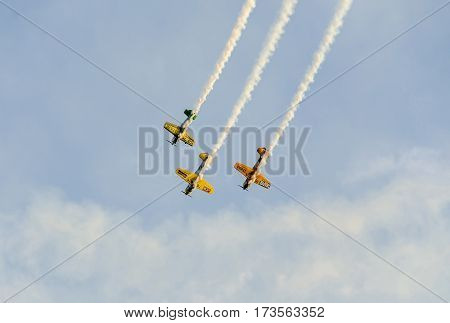 Bucharest, Romania - September 5, 2015. Aerobatic Pilots Training In The Blue Sky, Airplanes With Co