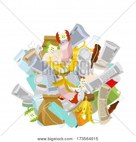 Heap Trash Isolated. Pile Rubbish. Garbage Stack. Litter Background. Peel From Banana And Stub. Tin