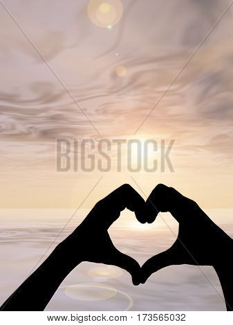 Concept or conceptual heart shape 3D illustration or symbol of human or woman and man hand silhouette over sky, sea at sunset background