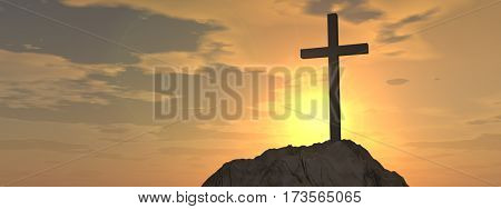 Concept or conceptual 3D illustration cross religion symbol shape on sunset sky, clouds background banner