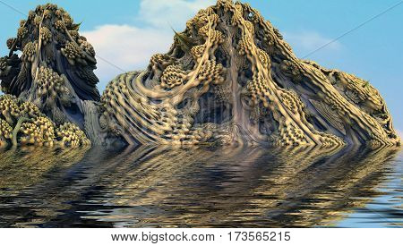3D illustration of virtual scene with hills covered by exotic plants submerged in water environment