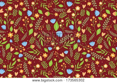 Seamless floral pattern with orange and blue flowers and green leaves on reddish brown background
