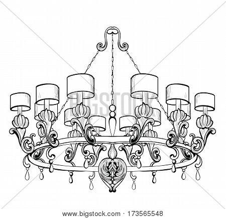 Vintage Baroque Elegant chandelier. Vector Luxury Royal Rich Style decor. Classic lamp acanthus ornamented illustration sketch