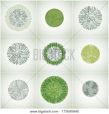 Vector circuit board circles digital technologies abstractions. Set of green computer microprocessor schemes with arrows futuristic designs collection.