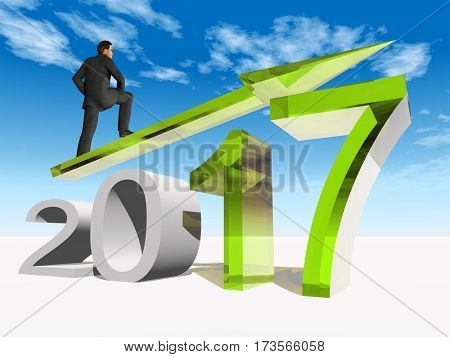 Conceptual 3D illustration human, man or businessman standing over an green 2017 year symbol with an arrow on blue sky white background