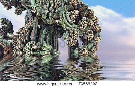 3D illustration of virtual scene with flowering plants submerged in water with reflections