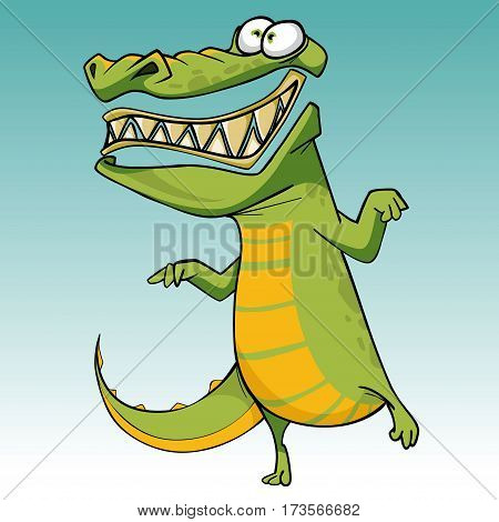 cartoon funny scary toothy crocodile is standing on one leg