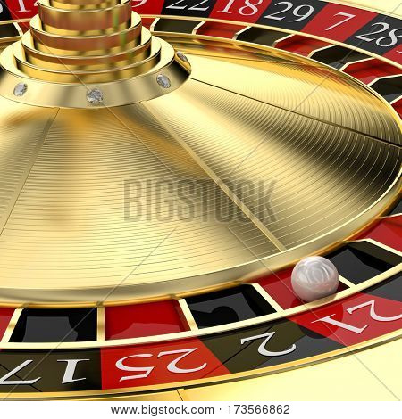 golden roulette casino 3d rendering image