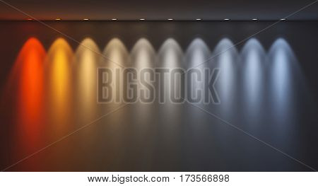 different kelvin temperature colours 3d rendering image