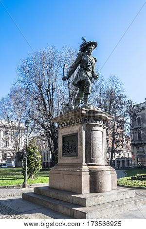 Turin,Italy,Europe - February 22, 2014 : The monument to Alessandro Ferrero de La Marmora in via Cernaia