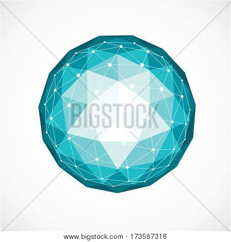 Vector Dimensional Wireframe Low Poly Object, Green Spherical Shape With Black Grid. Technology 3D M