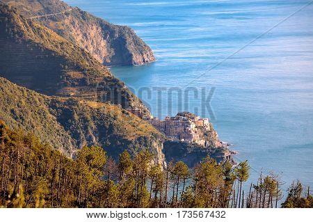 Riomaggiore and Cinque Terre panoramic view Liguria Italy