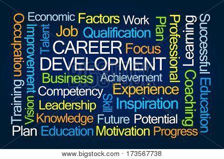 Career Development Word Cloud on Blue Background