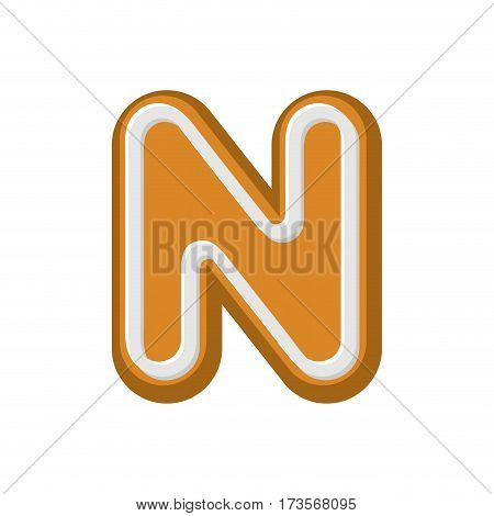 Letter N Gingerbread. Peppermint Honey-cake Font. Cookies Alphabet. Lettering Biscuit